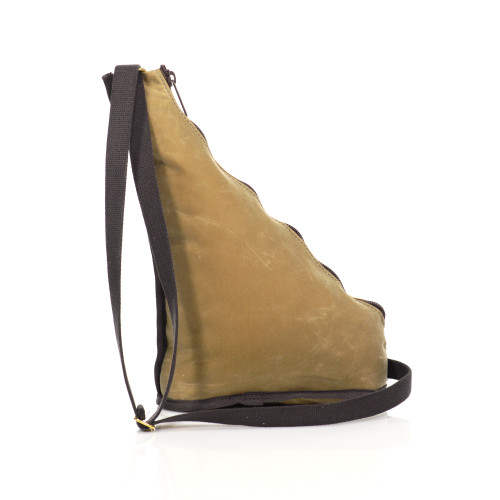 This item can be worn cross body or over the shoulder. The cotton strap is adjustable to the wearer.