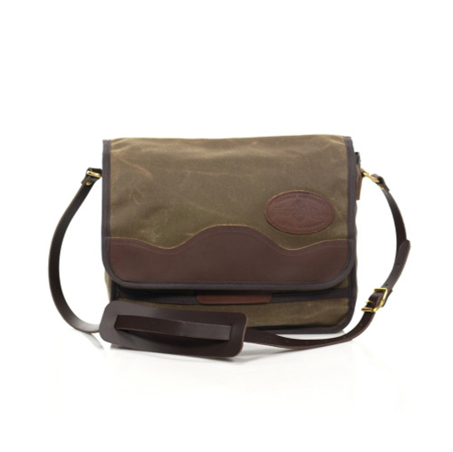 The Manitou Shoulder Bag is made of waxed canvas, premium leather, and solid brass hardware in Duluth, MN.
