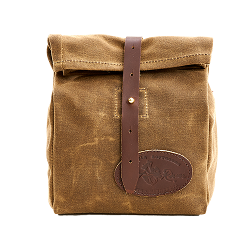 The Lunch Bag SB by Frost River is made of waxed canvas and closed with a leather strap and solid brass post. This item is proudly made in the USA.