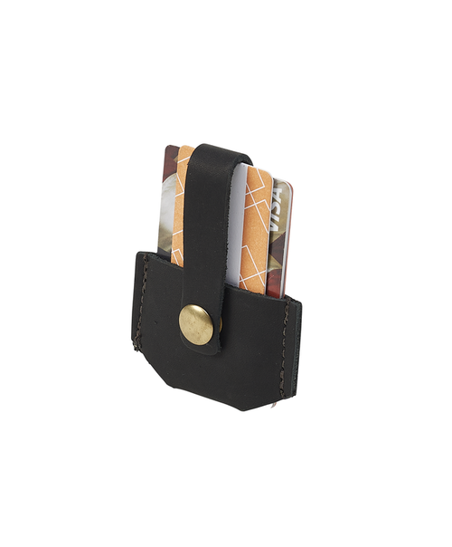 The Micro Wallet in Heritage Black by Frost River is made in the USA. The premium leather and solid brass hardware are built to last.