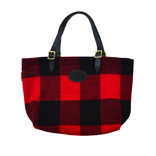 Woolrich Wool Bazaar Tote, front. A Red Plaid Tote lined with black canvas and heavy duty black bridle leather handles.