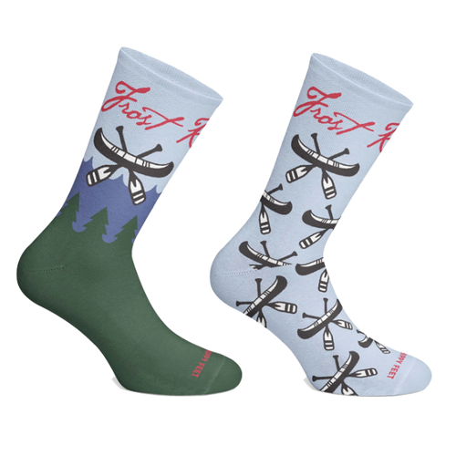 Frost River Custom Socks created by Hippy Feet. Socks are made in the USA and benefit homeless youth in Minnesota