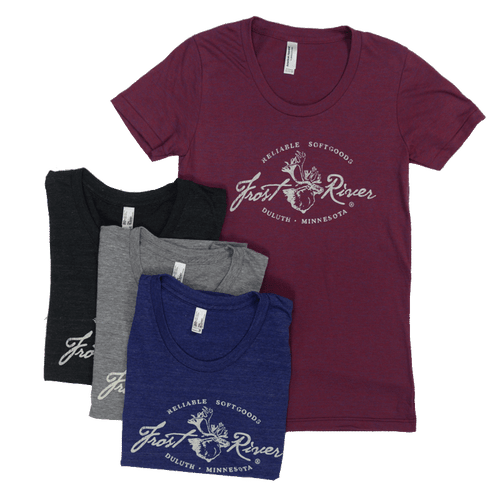 Women's Distressed Logo Frost River T-shirt, made in USA.
