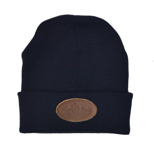 Navy Frost River Beanie with Leather Logo.