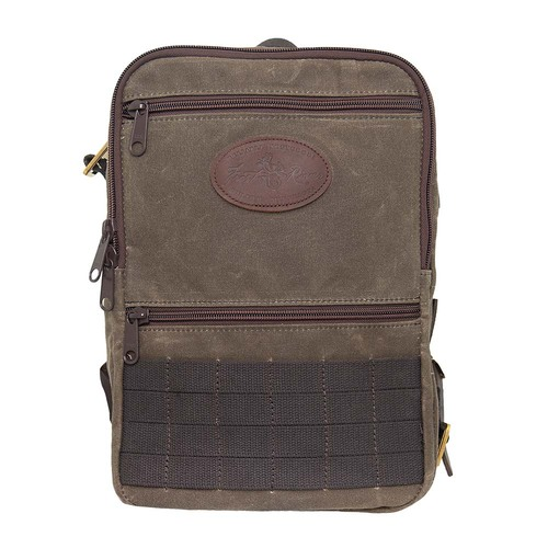 Devil's Kettle Daypack is made from waxed canvas, leather, solid brass hardware and cotton webbing.