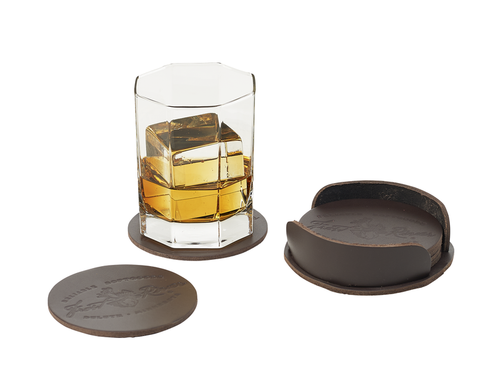 Leather Coaster Nest, handcrafted coasters and nest from premium bridle leather. This item is made in the USA at Frost River.