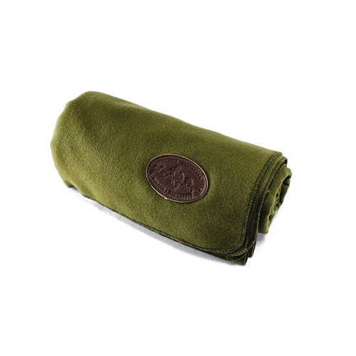 The olive colored wool blanket is made in America and is stitched around the edge to ensure that it doesn't fall apart.
