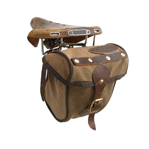 The Echo Trail Seat Bag is made of quality materials including solid brass hardware, waxed canvas, and premium leather. It has internal reinforcement that will help the bag keep its shape for years to come.