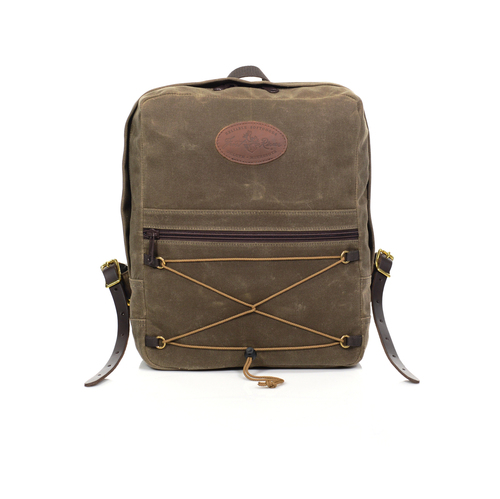 The Itinerant Daypack by Frost River is built with waxed canvas, premium leather, durable zipper, and webbed cotton.