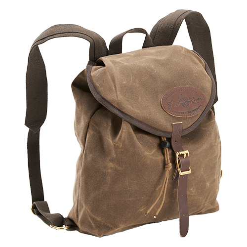 The Knapsack is made in America and crafted from waxed canvas, premium leather, and solid brass hardware.