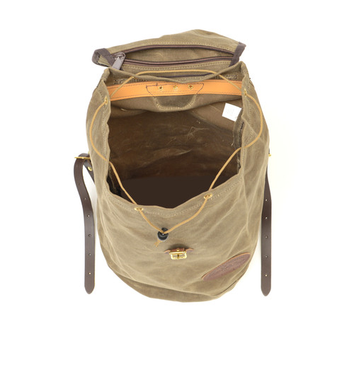 This rucksack is the size of a five gallon bucket and can hold lots of gear. The interior has a pocket for added organization.