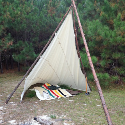 This durable, fire retardant, and made in the USA product is crafted in Duluth, MN. It is 11' x 11' and can be used as a ground cloth or as a shelter.