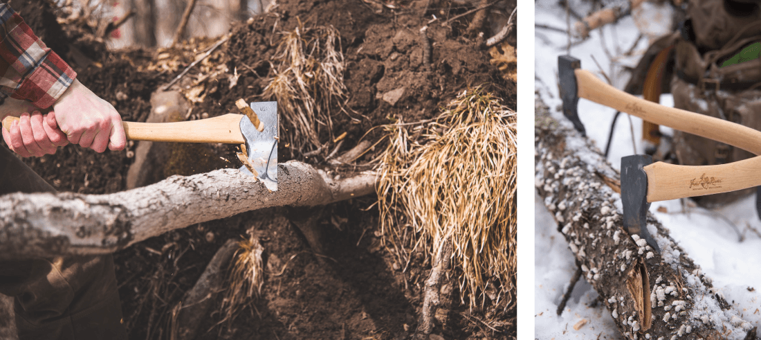Council Tool crafts axes in the USA with premium materials. Each Axe is made from a Hickory handle and a steel head that is guaranteed for life. A Frost River Boreal Axe Sheath is included with each axe purchase.