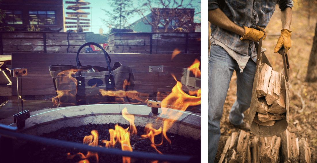 Keep the fire fed with Frost River's functional and handcrafted waxed canvas Timber Haulers.