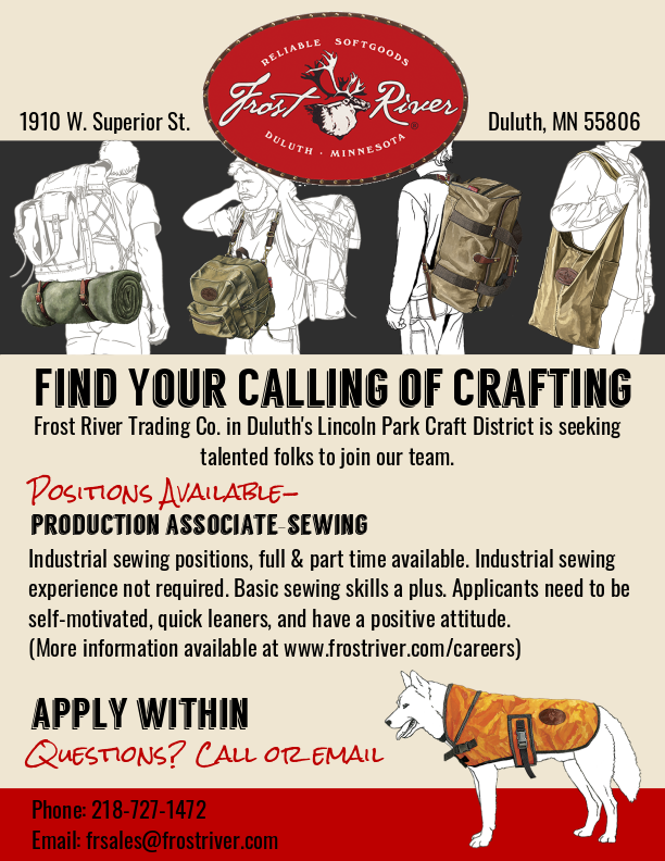 Frost River is now hiring sewers
