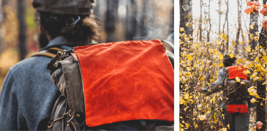 The Windigo Signal Bag is a handy zippered pouch made to attach to the exterior of your backpack. It allows for easy accessibility and adds a pop of Hunter Orange when you need it.