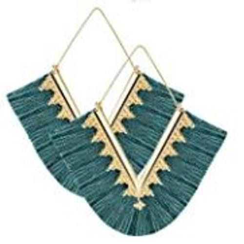 Tassel Bohemian Fringe V Dangle Earrings (W)