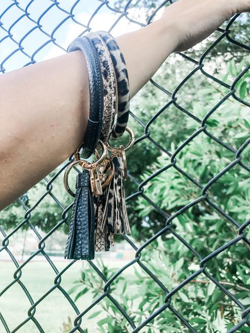 Wristlet Keychain Bracelet with Tassel and Lock Charm (W)