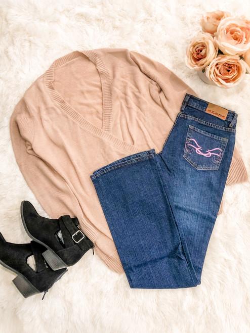 Starz Purple Scroll Boot Cut Dark Wash Jeans