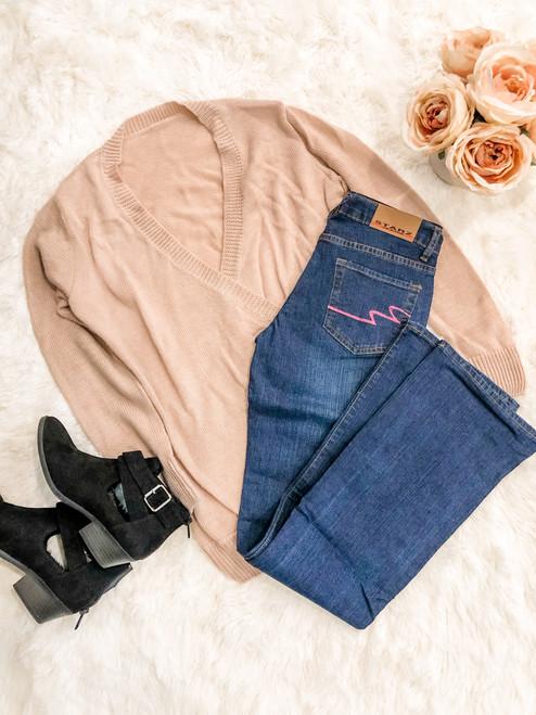 Starz Pink Scroll Boot Cut Dark Wash Jeans