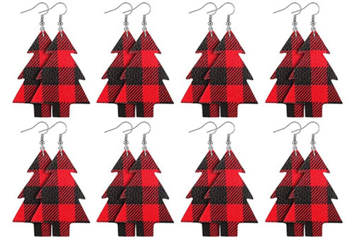 Buffalo Plaid Tree Earrings (W)