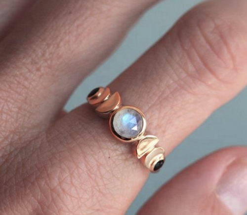 Moon Phase Rose Gold Ring