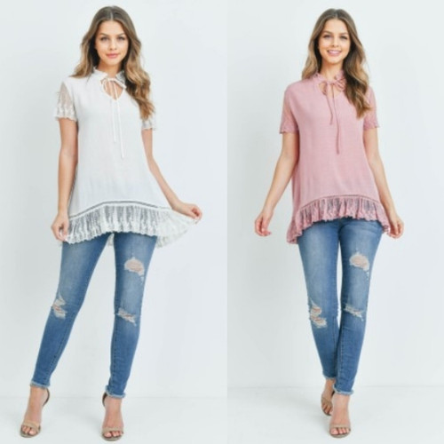 Lace Sleeve Ruffle Tie Neck Top