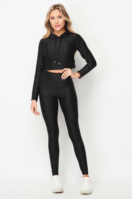 Honeycomb Cropped Pull Over Hoodie (W)