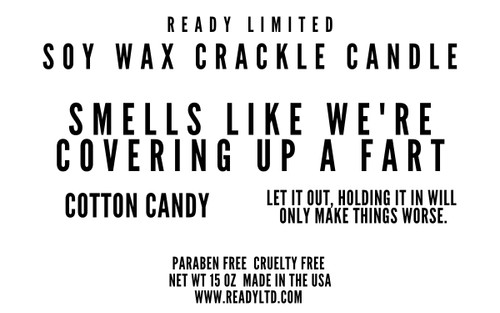 """Funny Soy Wax Crackle Candle """"Covering Up A Fart"""" 15oz"""