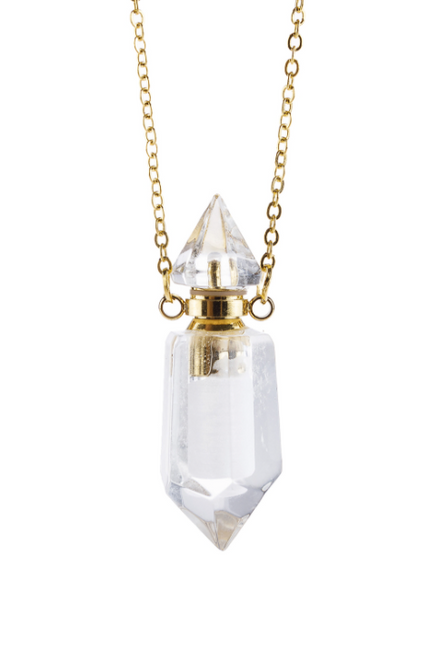 Natural Stone Pointed Crystal Perfume Bottle Necklace