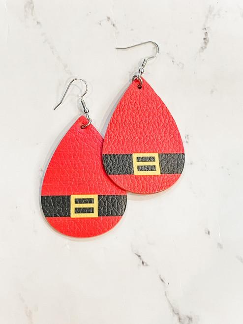 Teardrop Santa Belt Earrings
