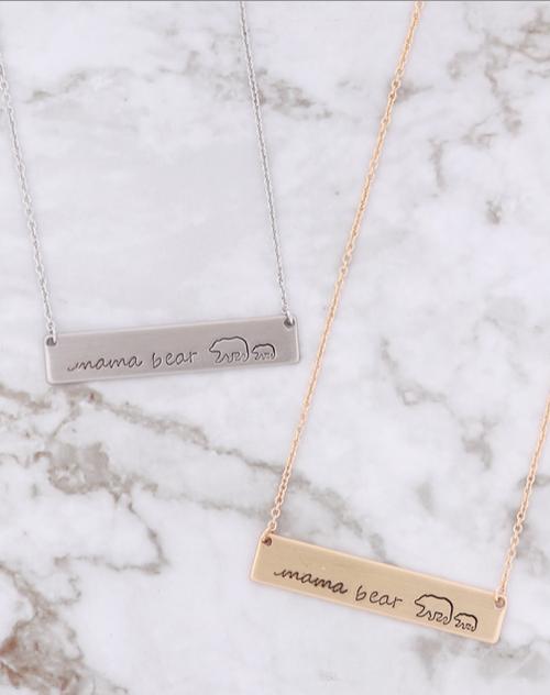 Mama Bear Matte Stamped Long Pendant Necklace