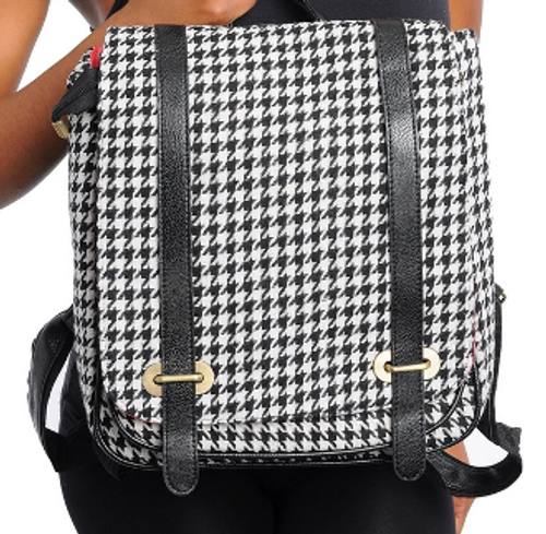 Houndstooth Print Canvas Backpack
