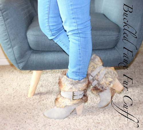 Buckled Faux Fur Cuff Bootie
