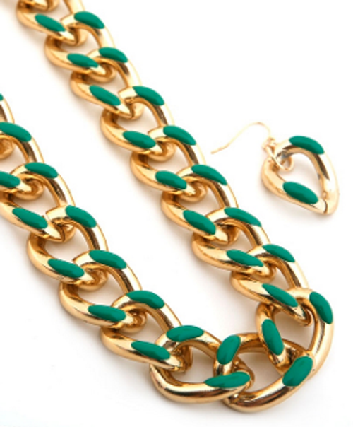 Epoxy Chain Link Necklace & Earring Set