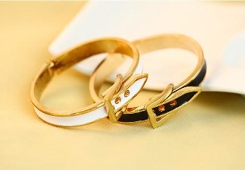 Designer Inspired Buckle Enamel Bracelet