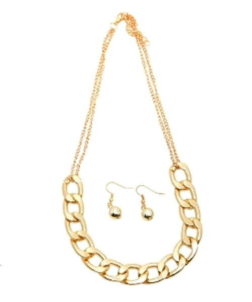 Short Chain Necklace and Earring Set