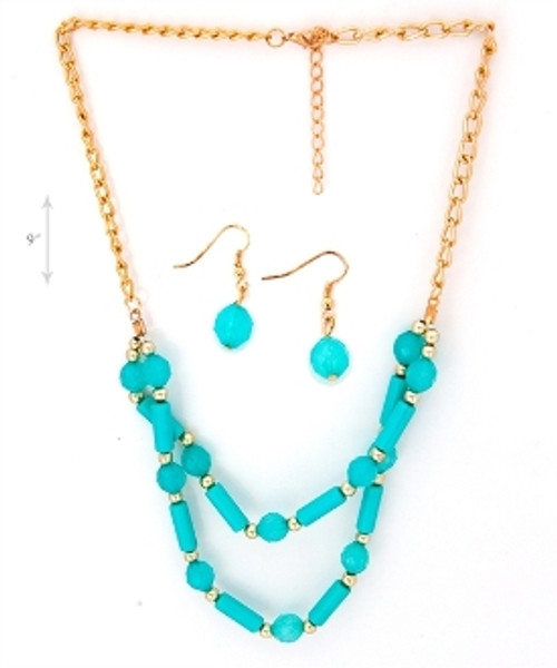 Double Line Bead Necklace and Earring Set