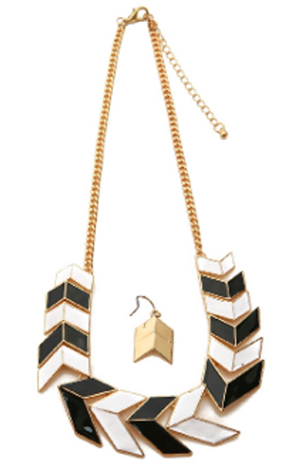 Chevron Necklace & Earring Set