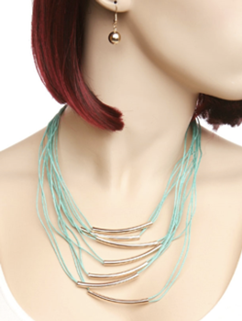 Color String Metal Accent Necklace & Earring Set