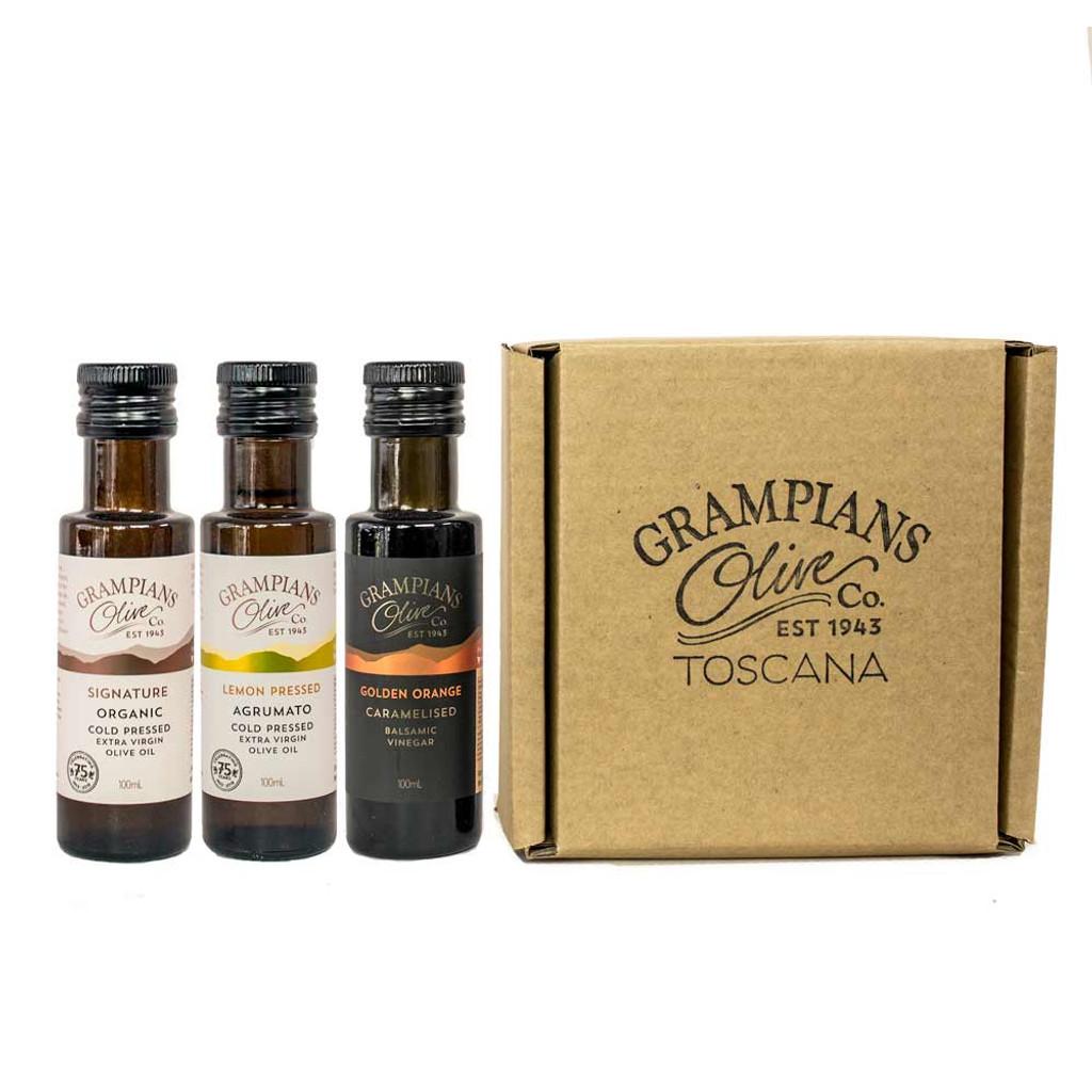 Triple 100ml olive oil and vinegar gift set