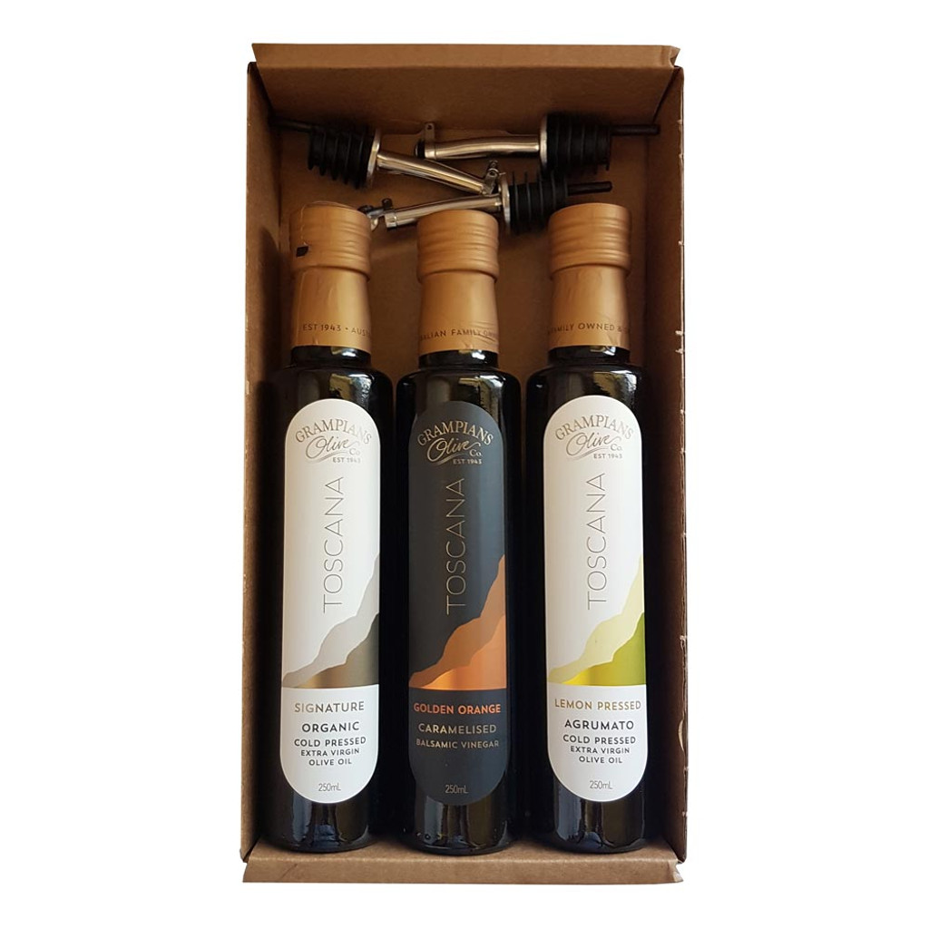3 x 250ml organic olive oil and vinegar gift set - what's in the box