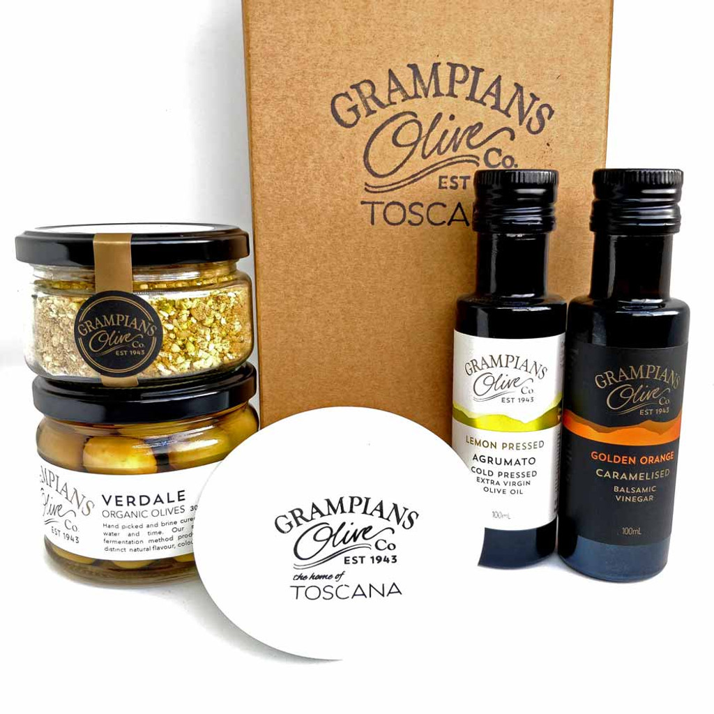 Entertainer hamper - including infused oil, vinegar, dukkah, olives, serving dish.