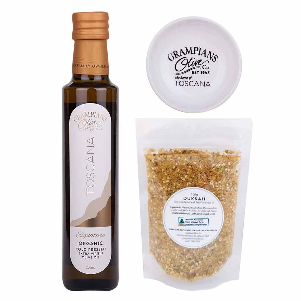 Oil + dukkah hamper, includes a dipping dish.