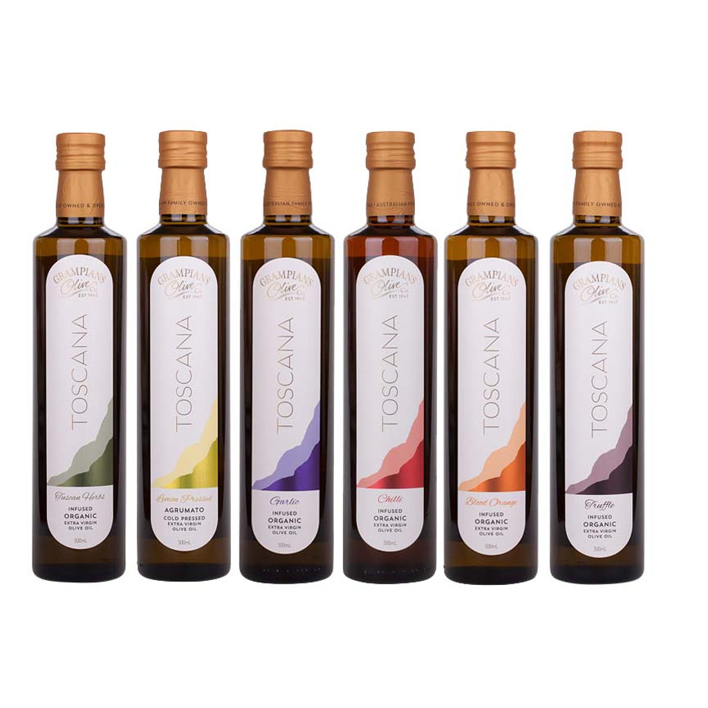 6 x 500ml value pack of organic olive oils