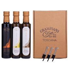 3 x 250ml organic olive oil and vinegar gift set