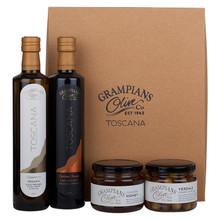 Hamper of organic olives, olive oil and honey