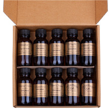Inside the sampler gift box of organic olive oils, infused olive oils, balsamic vinegars.