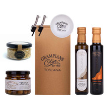 Pantry hamper including organic olive oil, vinegar, olives, dukkah, pourers and dipping dish.