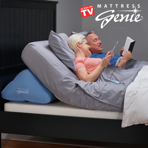 Mattress Genie allows you to adjust the elevation of bed for a more comfortable nights sleep. Mattress Genie Inflatable Bed Wedge is an effective alternative to expensive adjustable bed or hospital beds.